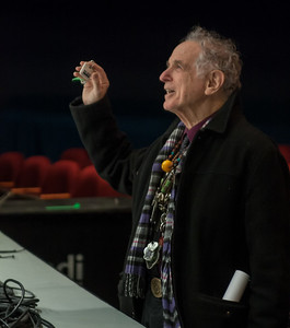 DAvid Amram, Symphony Space, NYC November 2012.  Greeting the stage crew.