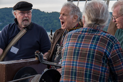 Tom Paxton and David Amram performing on the Mystic Whaler, June 2014.
