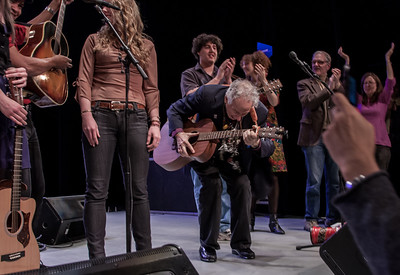 Guy Davis, Power of Song Singers, David Amram, Alana Amram, Keir Dullea and Mia Dillon at the finale.  Symphony Space, NYC, November 2012.