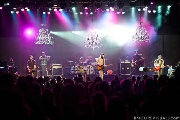 "Mark Waldrop, Mike Hogan, Jeremy ""B-Wack"" Bush, David Crowder, Mike Dodson, and Jack Parker of David Crowder Band perform at Manatee Convention Center in Palmetto, Florida on November 6, 2011"