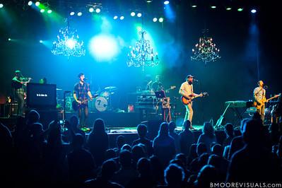 "Mike Hogan, Mark Waldrop, Jeremy ""B-Wack"" Bush, David Crowder, Mike Dodson, and Jack Parker of David Crowder Band perform at Manatee Convention Center in Palmetto, Florida on November 6, 2011"