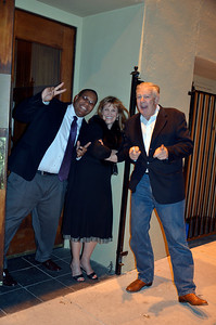 Don Johanson outside Maestro's Restaurant with lady friendm and Abdul Ishmael on left, at opening night party for Freddy Clarke's Wobbly World and his mother Pearl's birthday, at Maestro's Restaurant (formerly STARS).