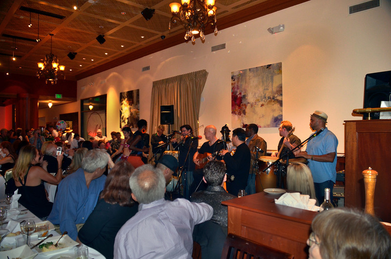 Opening night party for Freddy Clarke's Wobbly World and his mother Pearl's birthday, at Maestro's Restaurant (formerly STARS).<br /> PERFORMERS:<br /> - Fely Tchaco, Ivory Coast<br /> French and Guoro Vocals<br /> <br /> - Georges Lammam, Lebanon<br /> Arabic Vocals / Violin<br /> <br /> - Erick Barberia, Cuba<br /> Bata / Yoruba and Spanish Vocals<br /> - Candido, Nigeria<br /> Percussion / Yoruba Vocals<br />  <br /> - Mingyuan Yuan, China<br /> Mandarin Vocals / Erhu<br />  <br /> - Vassil Bebelekov, Bulgaria<br /> Gaida<br />  <br /> - Scott Thompson, US<br /> Bass<br />  <br /> - David Tucker, US<br /> Drums<br />  <br /> - Freddy Clarke, Menlo Park<br /> Guitar / Vocals