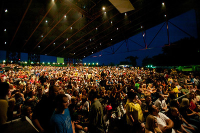 The crowd gets ready to hear Def Leppard perform at Riverbend on Wednesday Night
