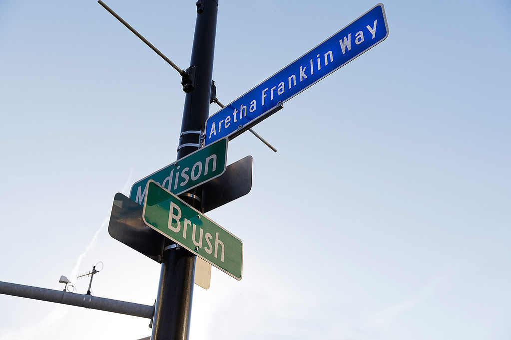 . Madison Street in Detroit is changed to Aretha Franklin Way on 6-9-17.  Photo credit: Ken Settle