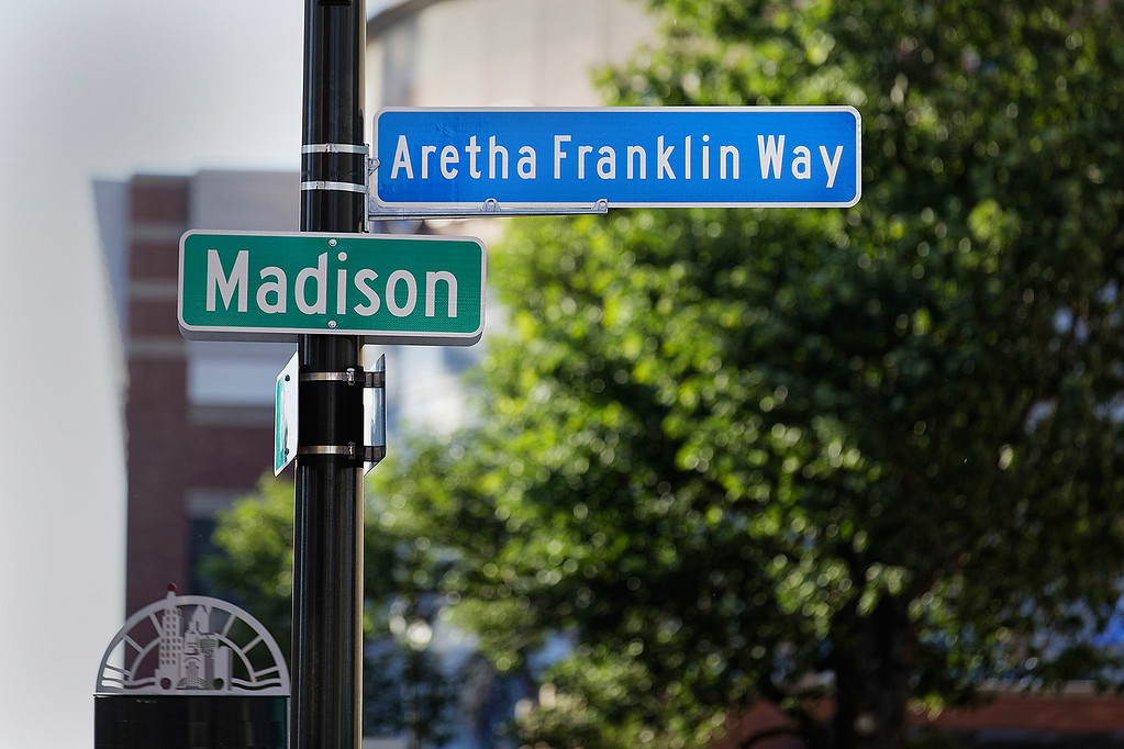 . Madison Street in Detroit is changed to Aretha Franklin Way on 6-9-2017 Photo credit: Ken Settle