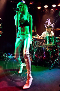 WEST HOLLYWOOD, CA - MAY 24:  Vocalist Ace of Diamonds (L) and drummer Matt Sorum perform with Diamond Baby at The Viper Room on May 24, 2012 in West Hollywood, California.  (Photo by Chelsea Lauren/WireImage)