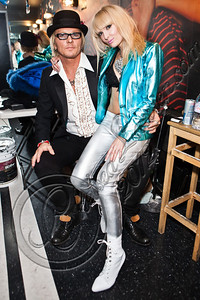 WEST HOLLYWOOD, CA - MAY 24:  Drummer Matt Sorum (L) and vocalist Ace of Diamonds pose backstage at Diamond Baby performs at The Viper Room on May 24, 2012 in West Hollywood, California.  (Photo by Chelsea Lauren/WireImage)