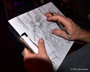 Chuck's drawing in progress at 2014 Dilworth Billiards Christmas jam