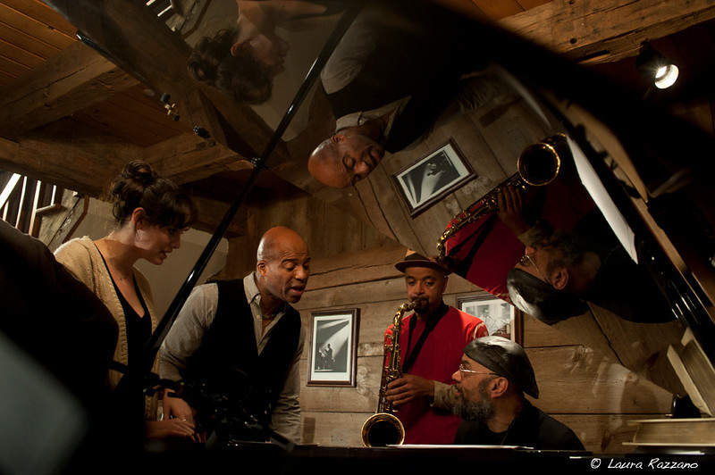During rehearsal from left to right Chelsea Crowe, Keith Robinson, James Mcbride and George Coldwell <br /> © Laura Razzano 2012