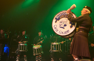 042813, Boston, MA The Boston Police Gaelic Column of Pipes and Drums opened the Dropkick Murphys' benefit show at the House of Blues on Sunday. Herald photo by Ryan Hutton