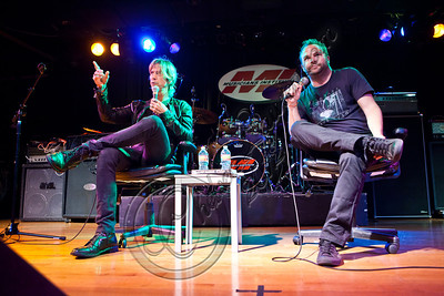 "LOS ANGELES, CA - MAY 24:  Musician Duff McKagan (L) and radio personality Darren Rose attend the ""MI Conversation Series"" with Duff McKagan at Musicians Institute Concert Hall on May 24, 2012 in Los Angeles, California.  (Photo by Chelsea Lauren/WireImage)"