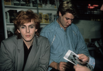 "DuranDuran_lp_1008 Nick Rhodes and Simon LeBon of English pop group Duran Duran at an in-store autograph session for the video release of ""Girls On Film"" in New York City 1984 Photo ©Laurie Paladino 1984"