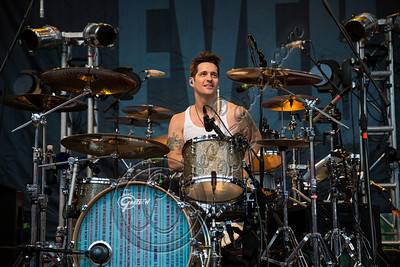 COSTA MESA, CA - AUGUST 08:  Drummer Tony Fagenson of EVE 6 performs at Pacific Amphitheatre on August 8, 2012 in Costa Mesa, California.  (Photo by Chelsea Lauren/WireImage)