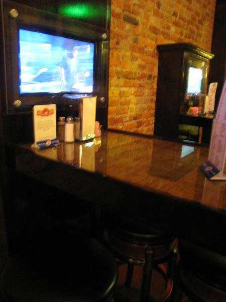 TVs at the bar tables