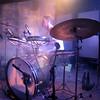 Tim Fogarty playing his drumkit