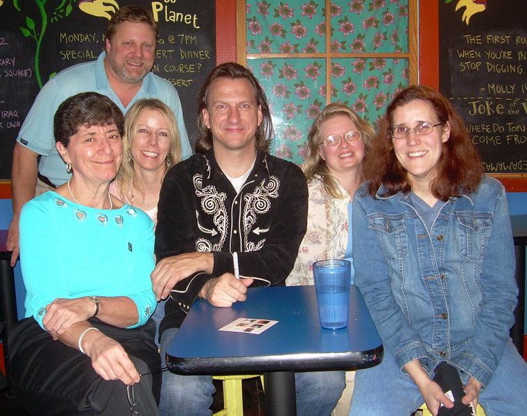 One of the first in-person gatherings of fans who met on the EP discussion board: Jeff Johnson, Monica Mansfield, Karen Zundel, Lyn Nelson and Susan Hall. Club Passim.  Oct. 28, 2006. (Taken by either Kim Taylor or Lisa Parrette using Monica Mansfield's camera.)