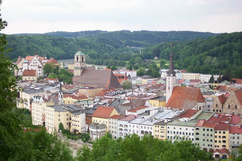 Entering Wasserburg.  Thomas Mueller showed us a terrific view of the town from this vantage point above.