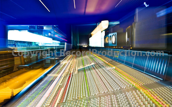 No Photoshop used, flash with long exposure zoomed out for effect  Hook End Manor Studios, featuring SSL J Series console - 96 channels big.