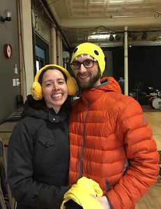 Helen and Jake at EBB rehearsal 1-29-17, selecting yellow items from Sandy's collection of costume options.