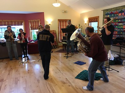 Rehearsal at the Pathways Common house, January 2017.  Zippy has enlisted in the Navy, but we have him for a few more months.