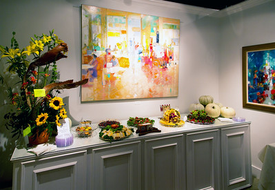 Nice food for us all.  (Remarkable flower arrangement provided by Darrell Gorski, Village Greenery.)