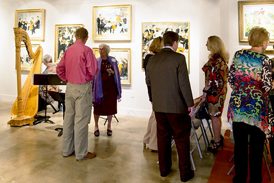 Dry Brush rendering of the gathering in the Gallery