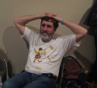 Ken with the t-shirt he bought in Guca, Serbia, at the brass band festival there.