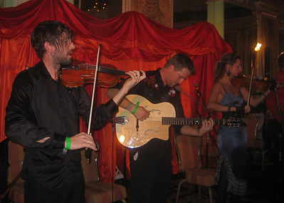 "Fishtank Ensemble  (""cross pollinated gypsy music"").      Fabrice Martinez, violin; Douglas Smolens, guitar; Ursula Knudson, violin, voice, and (see next photo) saw! http://www.facebook.com/Fishtank.Ensemble"