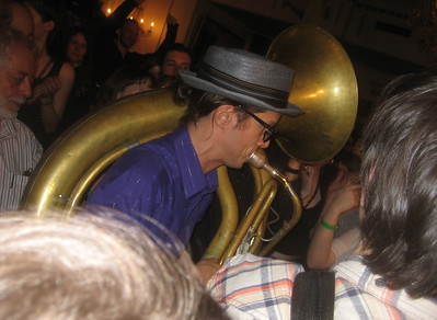 Don Godwin of Raya Brass Band     -- immersed in the crowd