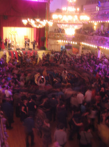 Zlatne Uste Brass Band surrounded by dancing fans,  as seen from a balcony in the Grand Ballroom about 10:45pm
