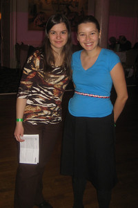 I was happy to introduce these two friends of mine -- both Bulgarian, both graduates of Mount Holyoke College.  Tessie (right) came regularly to Amherst International Folkdancing during her college years (2001-2005) and now lives in Brooklyn.  Mimi graduated in 2010 and is now a graduate student at Dartmouth.  Both were active in organizing Bulgarian dance events at the college (e.g., 2008 Kabilé concert  and the International Club's 2005 Festival of Diversity).