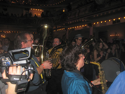 Zlatne Uste Brass Band   playing in the middle of the crowd in the Grand Ballroom.   See next photo...