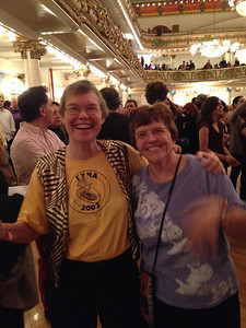 Golden Fest is always includes fun reunions with old friends. Sue and I lived in the same dorm (Russian House) in college and we both now play balkan music and see each other at dance festivals and camps.