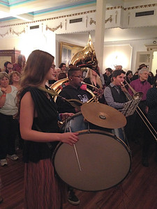 6:45pm in the Rainbow Room: members of the Catherine Foster Band playing Balkan Brass.