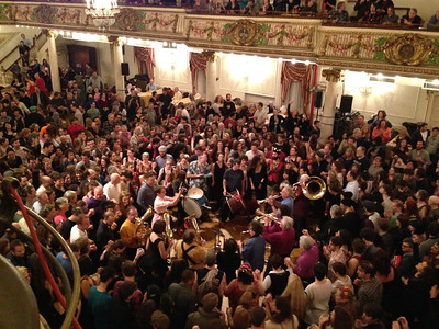 Zlatne Uste Brass Band playing in the middle of the Grand Ballroom 11:30pm Saturday night.   See http://www.zlatneuste.org/