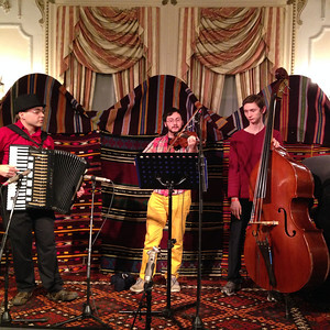 Gawain Thomas Trio:  Gawain on accordion, Lysander Jaffe on violin, and Marty Jaffe on bass.
