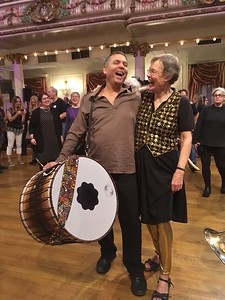 Posing with Seido, while his wife took photos of us.  We've known each other for years at the EEFC music and dance camps, where I have taken drumming classes with him.