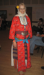 Melissa displaying her pomak outfit from southern Bulgaria.