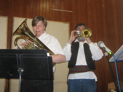 Bob (Linore's father) on baritone; Ken on flugelhorn.
