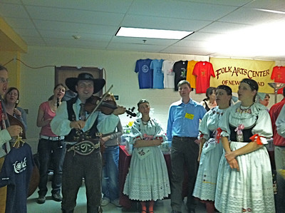 This Czech group (from Prague) performed in a hallway for hours!   Ken and I enjoyed learning Czech couple dances in a workshop taught by Jan Pumpr and Jitka Bonusová earlier that day.