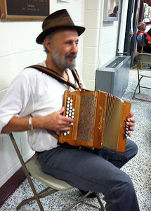 Albert Joy playing button accordion, NEFFA 2011.
