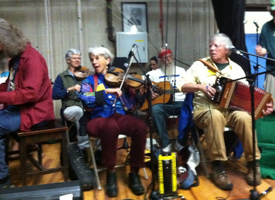 Two Fiddles  (fiddling callers who play for old time New England barn dances). Dudley Laufman, right.