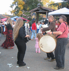 Edessa playing for dancers.