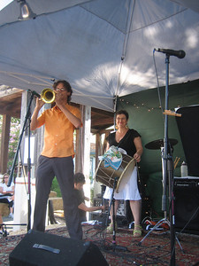 Brass Menazeri Balkan Brass Band. Peter Jacques, trumpet, and Michele Simon, tupan.