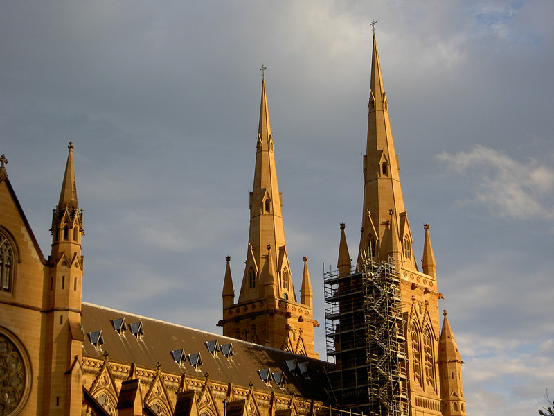 St Mary's Cathedral.  Hey it must be old, it's covered in scaffolding just like the old ones in Europe!