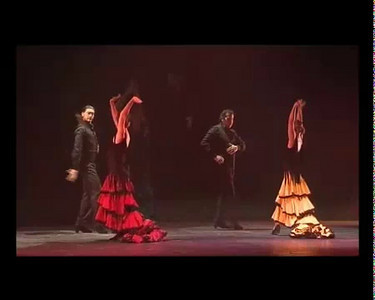"""Raffaella Fernandez Carrillo and the Studio Andalucia dance group performing a soleares titled """"Rezo"""". Performed with the traditional manton (shawl) and bata de cola (flamenco dress with tail)."""