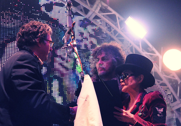 Yoko Ono, Wayne Coyne, Scott Booker, New Years Eve Freakout 5, Dec. 31,2011. Oklahoma City, Oklahoma.
