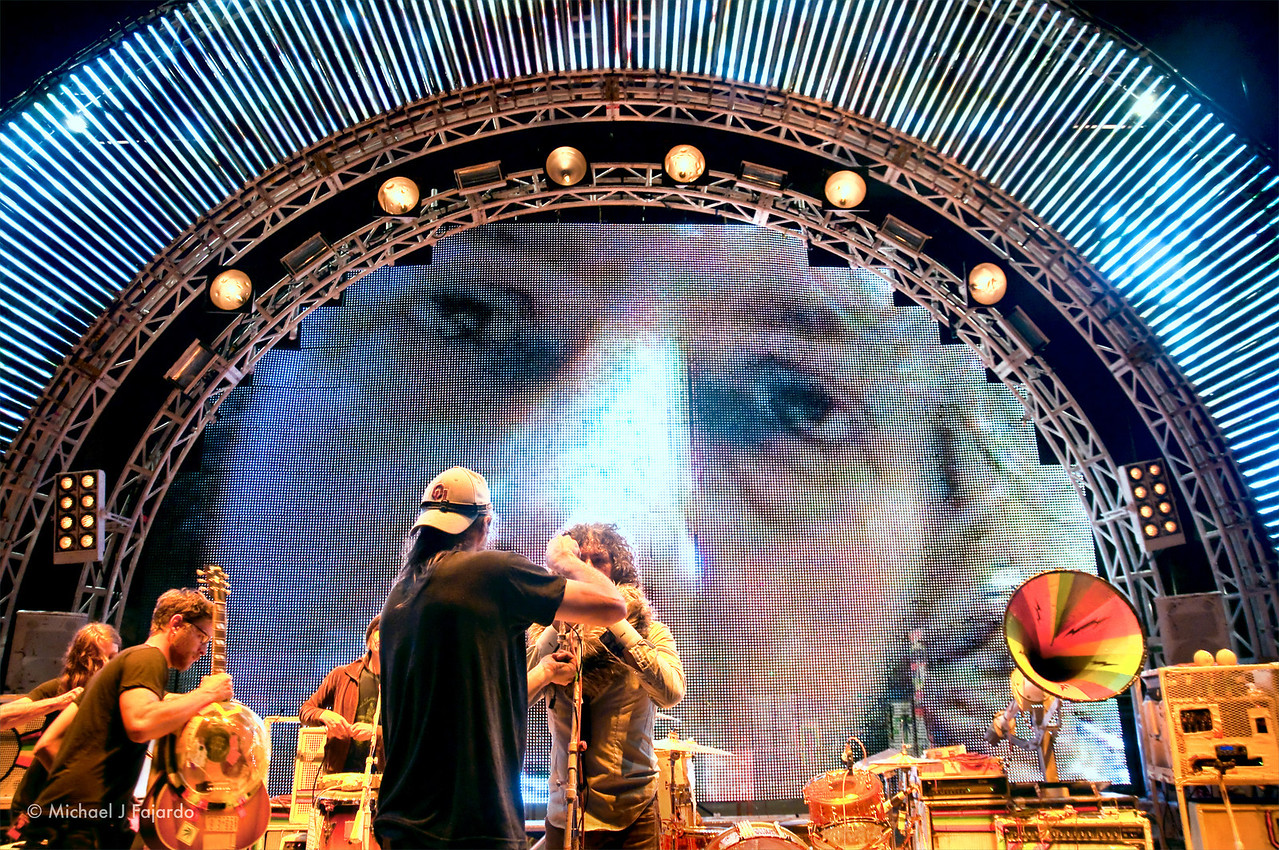 Wayne Coyne of The Flaming Lips during sound check Red Rocks Amphitheater Morrison, CO August 4, 2011