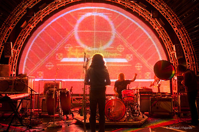 Wayne Coyne and Kliph Scurlock of The Flaming Lips during Sound Check The Flaming Lips Red Rocks Amphitheater Morrison, CO August 4, 2011